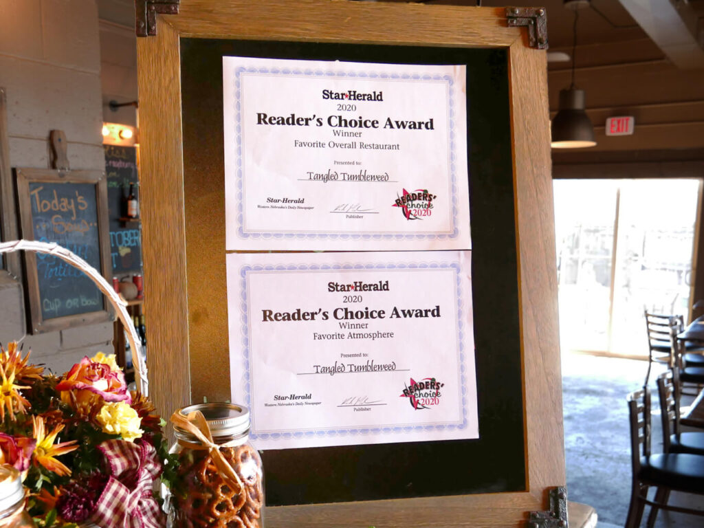 "2020 Awards for ""Favorite Overall Restaurant"" and ""Favorite Atmosphere"" at The Tangled Tumbleweed"